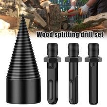 Wood Splitter Twist-Drill-Bit Screw Cones Square Hexagonal Round 32mm 1set High-Speed