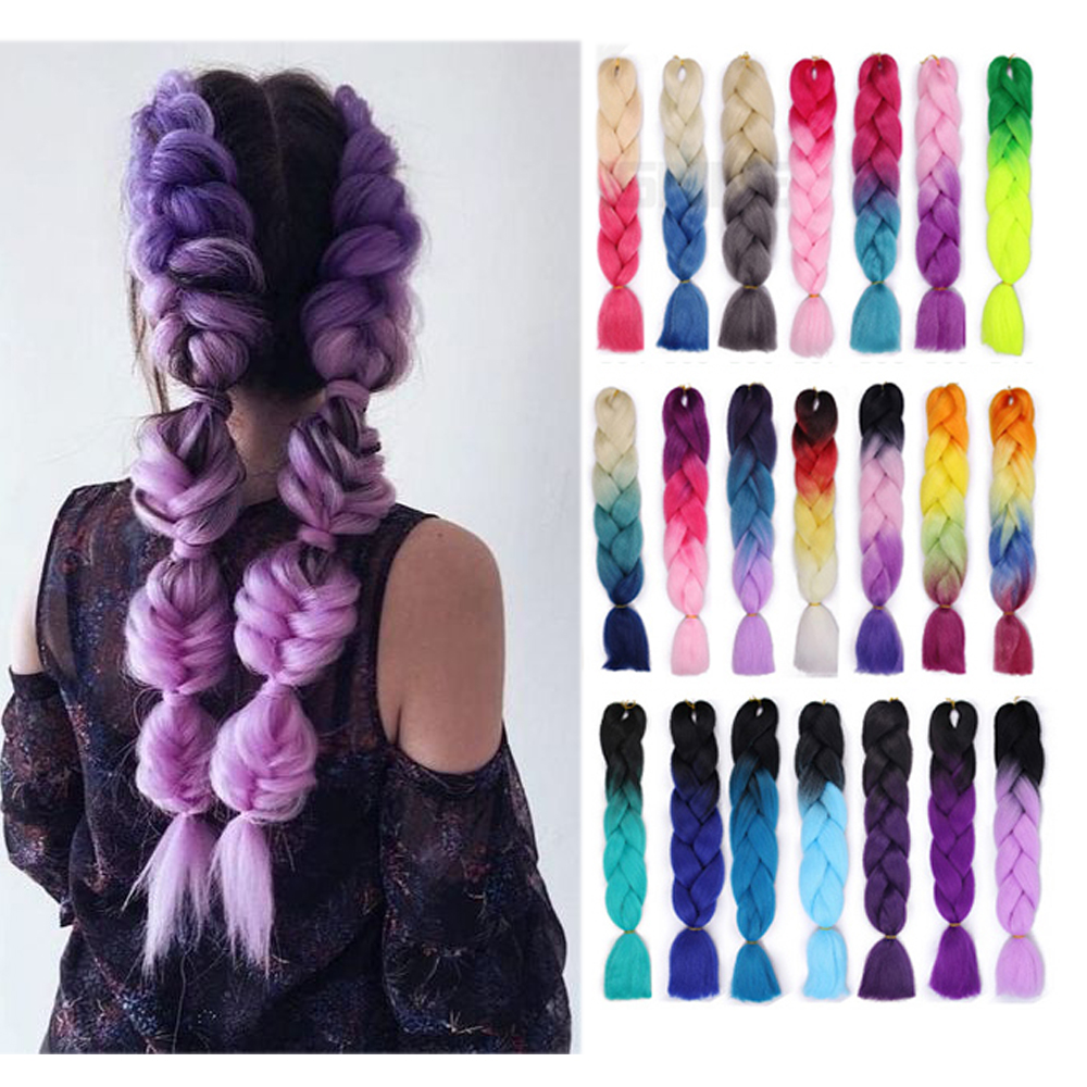 Nayoo Hair Ombre Braiding Hair 24 Inch 100g/pc Synthetic Crochet Braids Hairstyles Hair Extensions Purple Pink Black