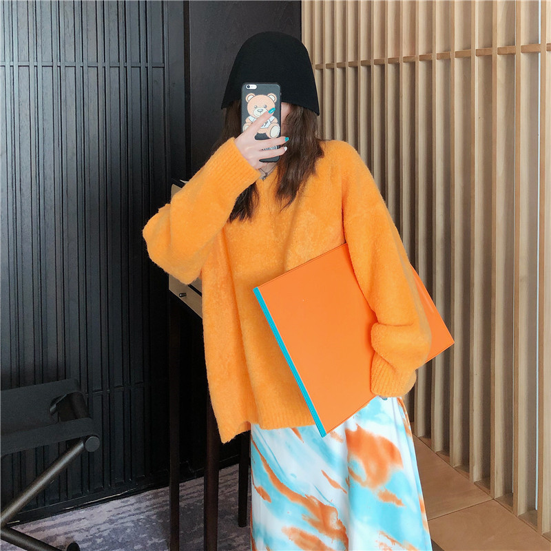 Focal20 Streetwear Solid Women Sweater Jumper Loose V Neck Female Pullovers Tops Casual Spring Autumn Lady Sweaters Jumpers 1
