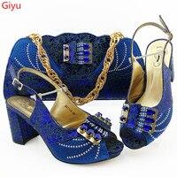 doershow Top selling blue women pumps with a big bag set african shoes match handbag for dress HGO1 32
