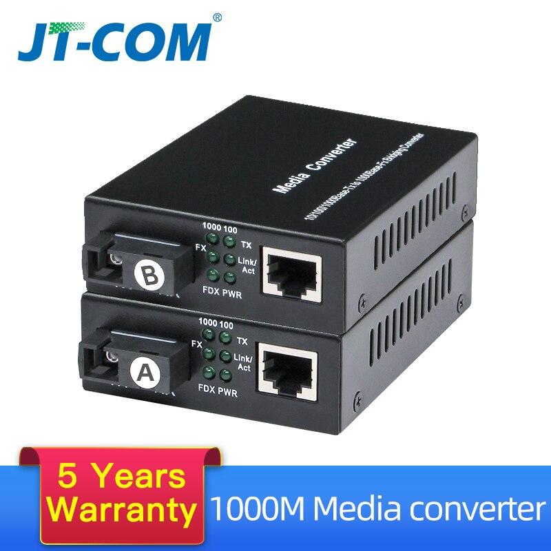 1 par gigabit fibra óptica conversor de mídia 1000 mbps único modo simples sc porto fibra optica rj45 transceptor óptico 3/20km