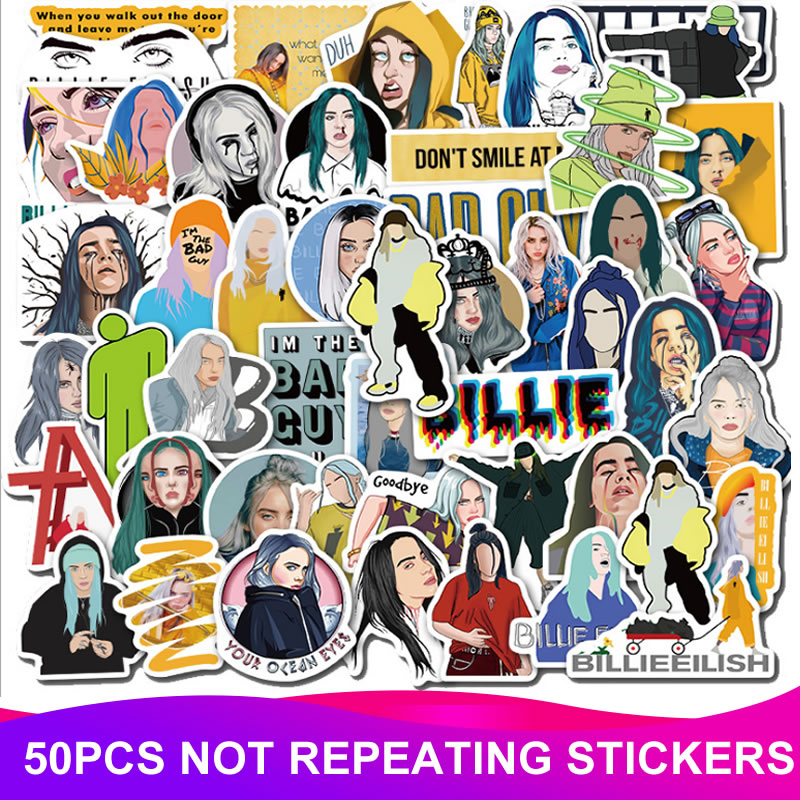 50pcs Pack Cartoon Billie Eilish Sticker Waterproof PVC Guitar Bicycle Luggage Motorcycle Skateboard Vsco Girl Kids Stickers Toy