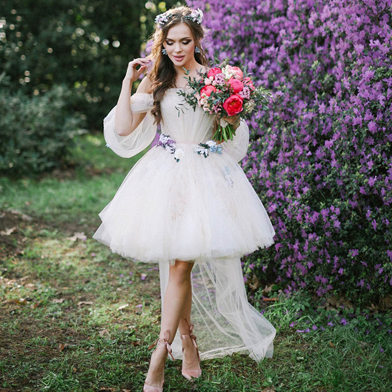 Eightree Short Wedding Dresses 2020 Sweetheart Ball Gown Boho Bride Dresses Strapless Bohomian Wedding Gowns Puff Sleeve