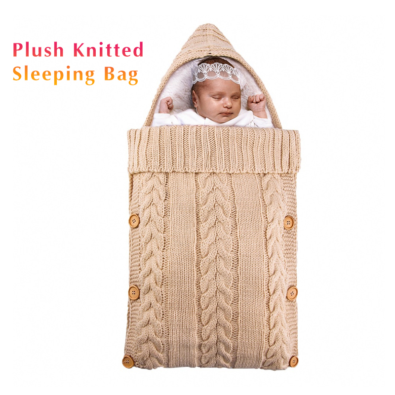 Autumn  Newborn Babies Sleeping Bags Warm Winter Baby Stroller Sleeping Bag Knit Cable Outdoor Child Swaddle Wrap