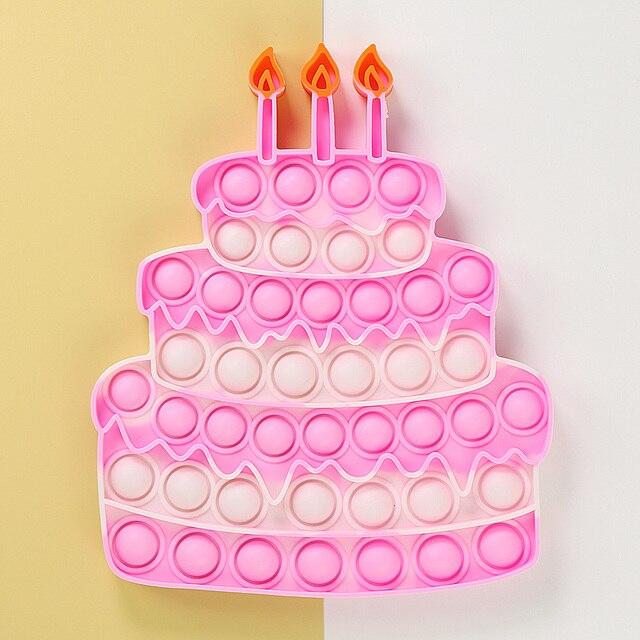 Happy Birthday Cake Food Fidget Toy Push Bubble Stress Sensory Toy 1