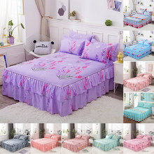 3 pcs Bed skirt bed sheets Skin care printing pad 1 pc and 2 pillowcases cover perpel fitted sheet