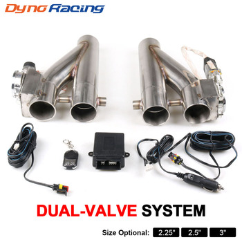 """2.25'' 2.5"""" 3"""" Double Electric Exhaust Cutout Kit Y pipe Exhaust Control Valve With Dual Valve System 1 Drag 2 Remote Control"""