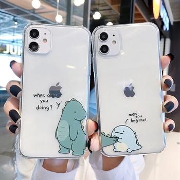 QIXTWO Cute Cartoon dinozaur para przezroczysty telefon miękki futerał dla iPhone 11 Pro Max X Xs XR 7 8 Plus SE 2 przezroczysty TPU okładka Capa tanie i dobre opinie CN (pochodzenie) Aneks Skrzynki cute cartoon clear couple dinosaur phone case Apple iphone ów IPhone 7 IPhone 7 Plus IPHONE 8 PLUS