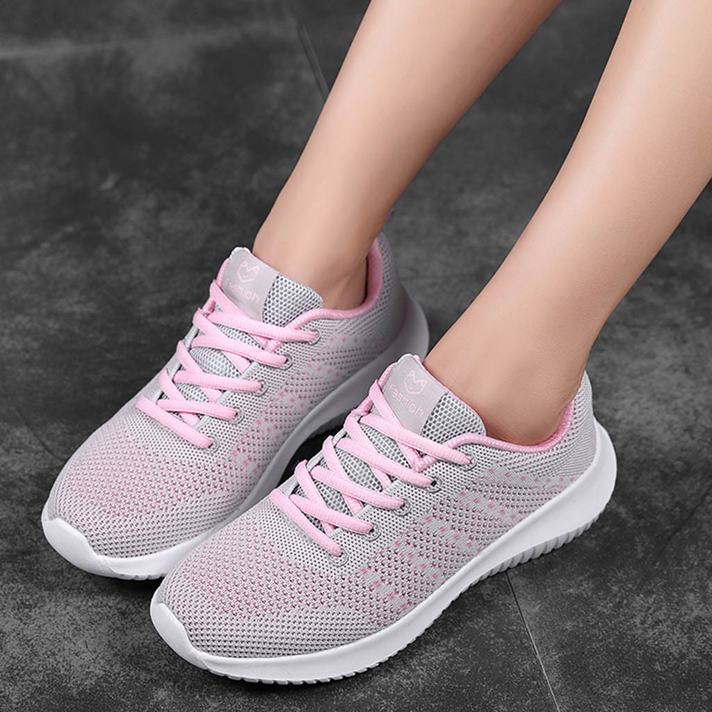 New Women's Vulcanize Shoes Mesh Solid Non-Slip Lace-Up Shoe Sneakers Casual Shoe Student Running Shoe Zapatillas Mujer Casual