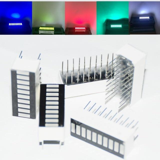 25 Stuks Led Bar Display Bargraph Module 10 Segment Gemengde Buis 10 Bar Grafiek Led Display Rood Wit Blauw groene Jade Groen 5 Pcs Elke