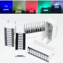 25 pçs led barra de exibição módulo de barras 10 segmento tubo misto 10 barra gráfico display led vermelho branco azul verde jade verde 5 peças cada