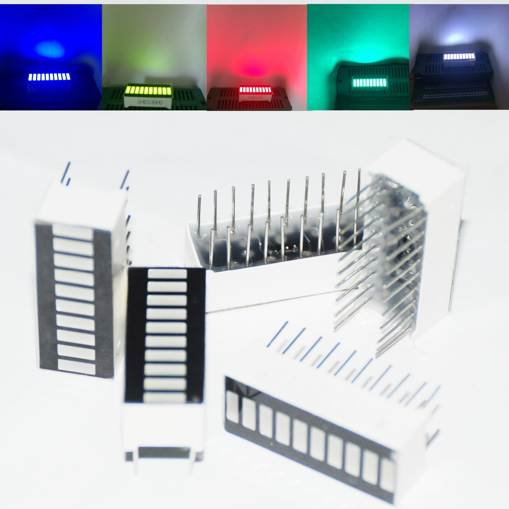25pcs LED Bar Display Bargraph Module 10 Segment Mixed Tube 10 Bar-graph LED Display RED White Blue Green Jade-green 5pcs Each