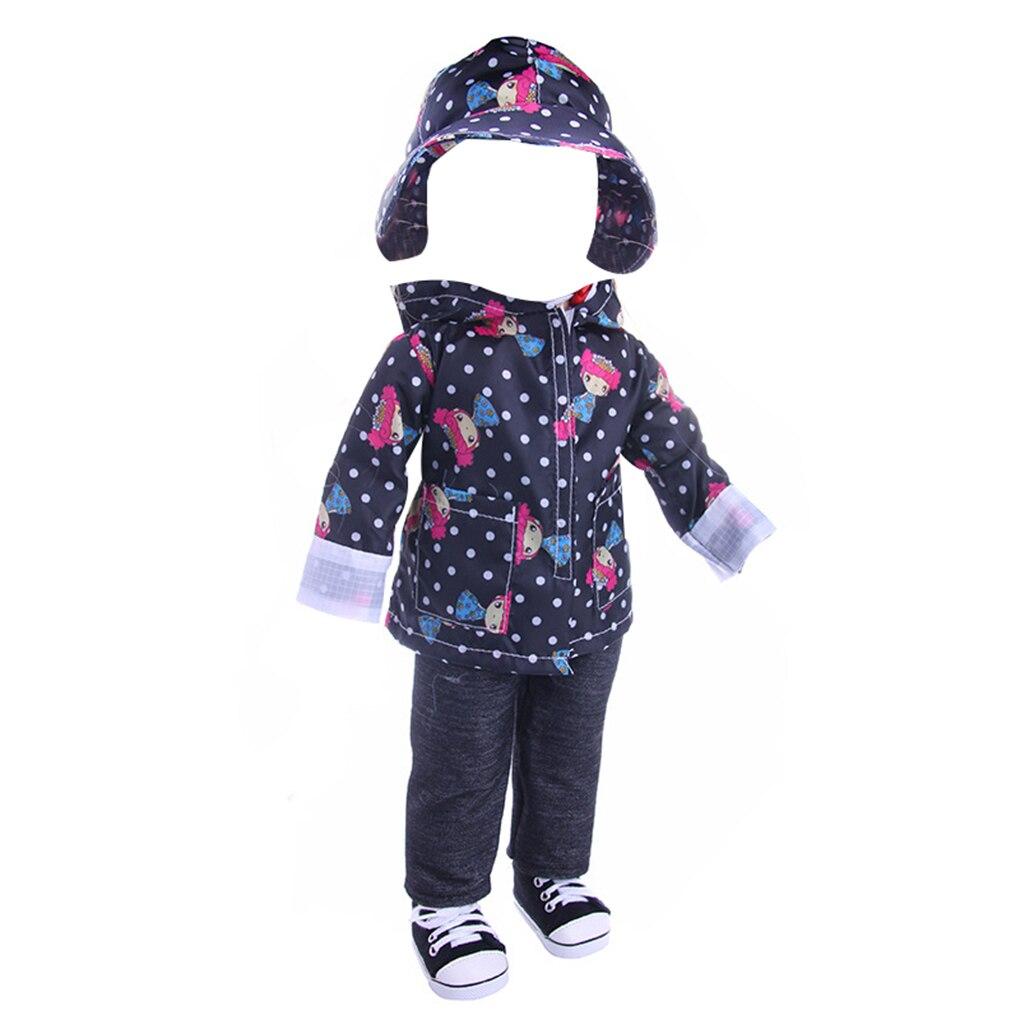 3pcs/set Casual Raincoat For 18 Inch Doll Hat Coat Pants Set Doll Clothes Outfits Rainwear Jacket