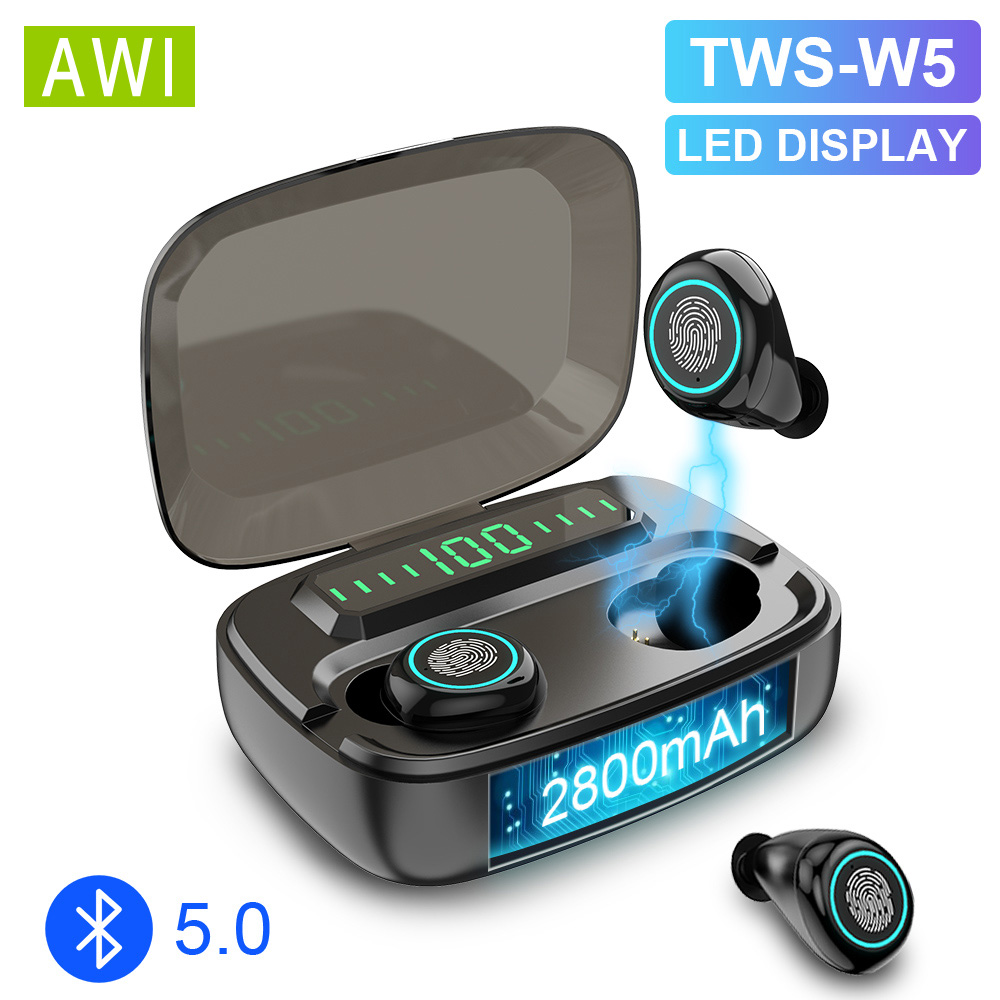 AWI W5 TWS <font><b>Bluetooth</b></font> 5.0 <font><b>Earphones</b></font> Wireless Earbuds Stereo Bass Headset LED Phone <font><b>Holder</b></font> In-ear Earbuds 2800mAh Power Bank image
