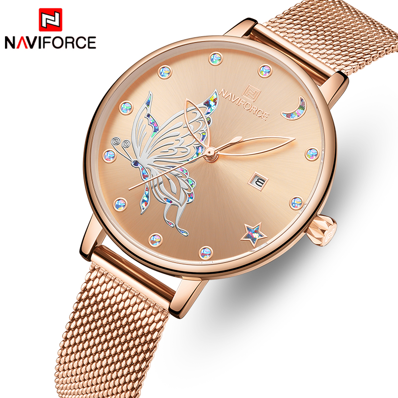 NAVIFORCE Women Quartz Watches Stainless Strap Waterproof Lady Clock Female Thin Dress Party Ladies Watch Girl Relogio Feminino