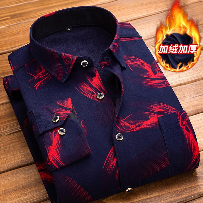 Men Shirt Long Sleeve Regular Men Plaid Keep Warm And Velvet Shirt Striped Shirts Men Dress Camisa Social Large Sizes Streetwear