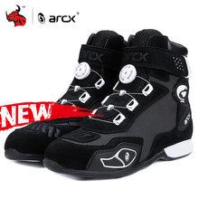 Arcx botas de motocicleta botas moto homens do motor motocross sapatos moto motociclista chopper cruiser touring tornozelo sapatos com botão sintonia