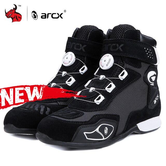 ARCX motosiklet botları Botas Moto erkekler Motor Motocross ayakkabı motosiklet Biker Chopper Cruiser Touring ayak bileği ayakkabı ayar düğmesi
