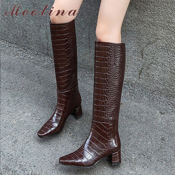 Meotina Women Long Boots Shoes Block Heels Slip On Knee High Boots Square Toe High Heel Fashion Boots Lady Autumn Beige Size 40 meotina low heel knee high boots woman riding boots round toe long boots zip block heel female shoes autumn winter brown size 42