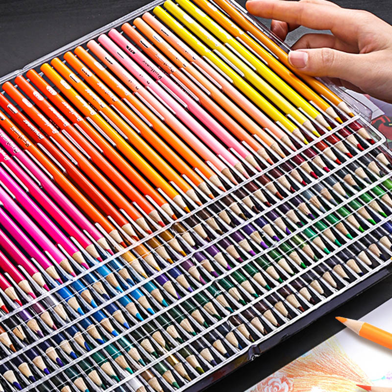 Water Soluble Color Pencils Set 150/180 Colors Professional Artist Painting Sketching Watercolor Pencil For Kids Art Supplies