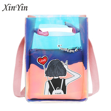 Trendy small colored  jelly bag for women mini clear Coin purse phone transparent handbag crossbody teenage girls