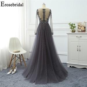 Image 2 - Robe de soirée à manches longues grise, ligne A, robe de soirée pour femmes, élégante, robe longue, de standing, robes de bal, perles exquises, 2020