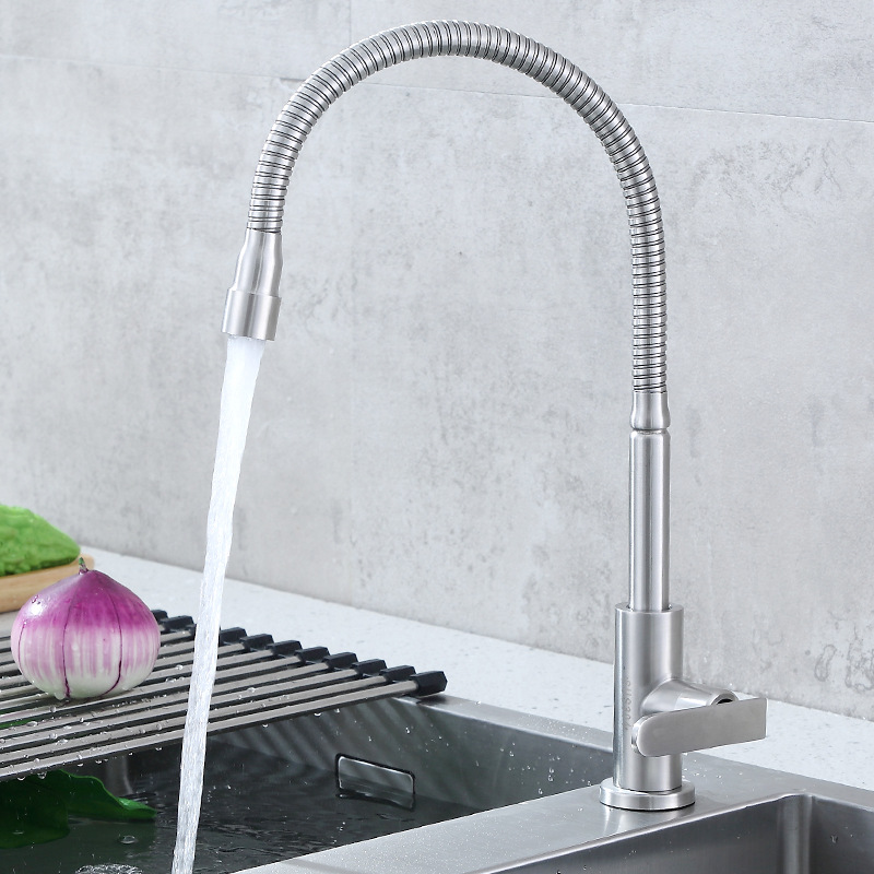304 Stainless Steel Universal Rotating Single Cold Kitchen Faucet Kitchen Sink Faucet Manufacturers Direct Selling