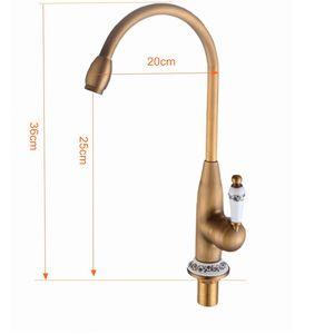 Image 5 - Keuken Kranen Antiek Brons Kraan voor Keuken Mengkraan Met Keramische Kraan Koud En Warm Aanrecht Tap Water Mixers 7513