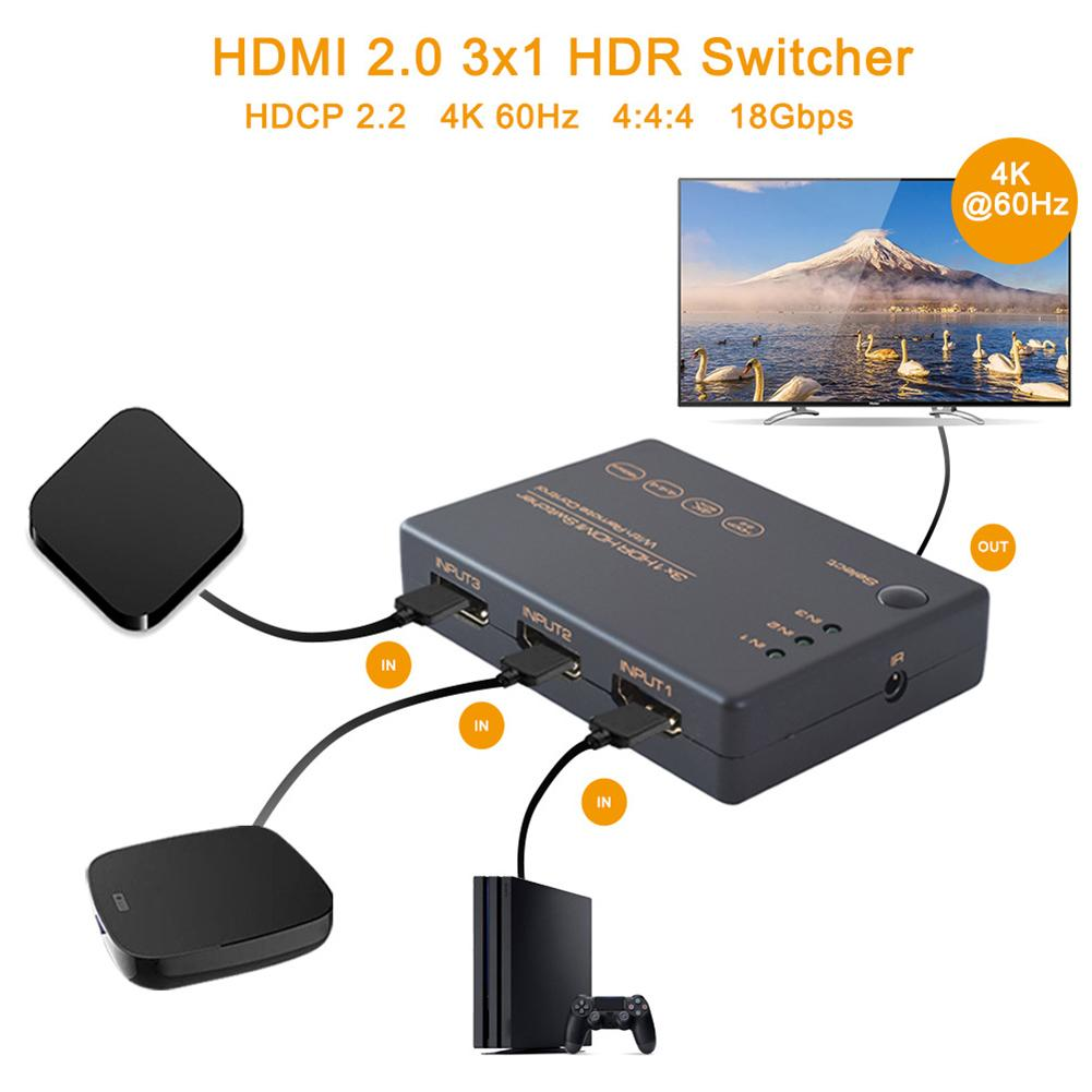3x1 HDMI Cable Splitter HD 1080P Video Switcher Adapter 3 Input 1 Output Port HDMI Hub For Xbox PS4 DVD HDTV PC Laptop TV