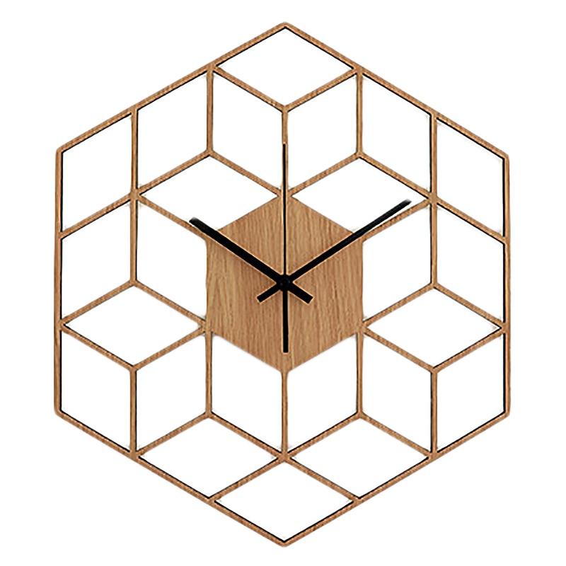 Fashion-1 Pcs Hexagon Wood Wall Clock Advanced European Minimalist Geometric Lines Exquisite Artistic Silently Clock For Cafe Ho