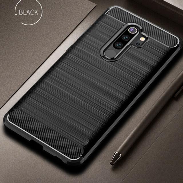 Para xiaomi redmi nota 8 pro caso capa de fibra carbono à prova choque caso telefone para redmi 9/prime capa flex pára