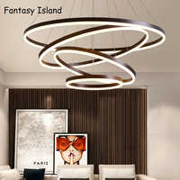 Brown Gold Modern LED Chandelier For Living Room Bedroom Dining room Office room Lustre Led Chandelier Lighting Hanging Lamps