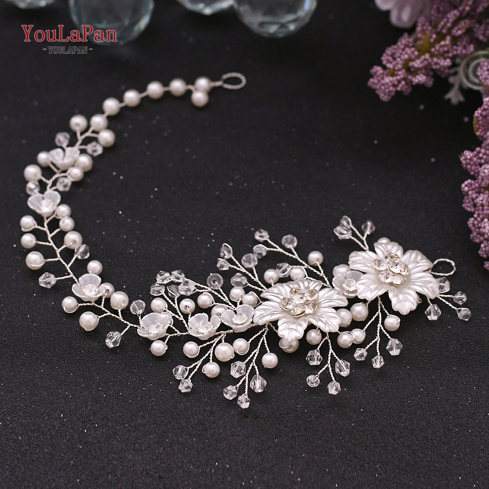 YouLaPan HP295 Flower Headwear Wedding Headband for Bride Crystal Pearls Women Tiara Bridal Headpieces Hair Jewelry Accessories
