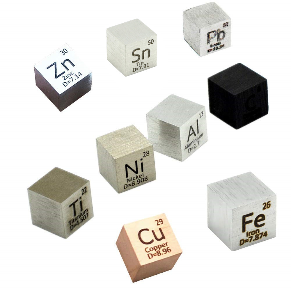 9 Pcs Element Cube-Set 10mm Metal Density Cubes Daily Metals Periodic Table Collection Iron Copper Lead Nickel Titanium Carbon