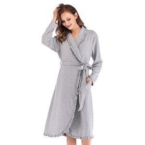 Image 3 - Tasarım Kadın Pijama Zarif Kimono Robe Bayanlar Kış Sonbahar Rahat Bornoz Gevşek Fırfır Katı Banyo Spa Elbiseler Kadınlar Için