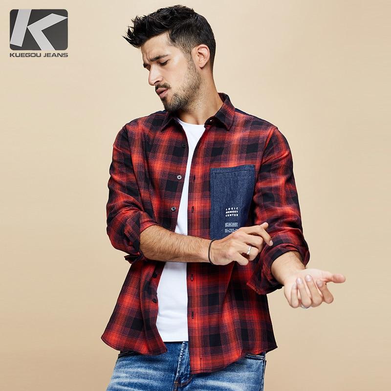 KUEGOU 2019 осень 100% хлопок клетчатая красная рубашка мужская  одежда на пуговицах Повседневная приталенная с длинным рукавом для  мужчин брендовая блуза размера плюс 6987Повседневные рубашки   -