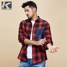 Kuegou 2020 outono 100% algodão xadrez camisa vermelha dos homens vestido botão casual fino ajuste manga longa para a marca masculina blusa roupas 6987