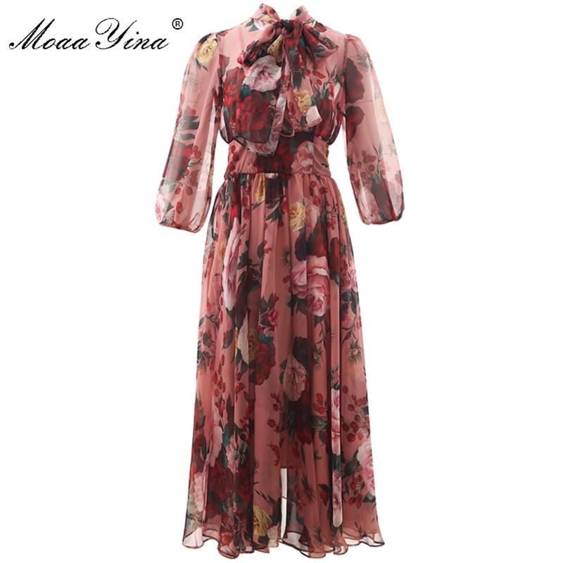 MoaaYina Fashion Designer Runway Dress Spring Summer Women Pink Dress Bow Collar Rose Floral-Print Elegant Chiffon Dresses