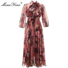 MoaaYina Fashion Designer Runway dress Spring Summer Women Pink Dress Bow collar Rose Floral Print Elegant Chiffon Dresses