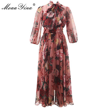 MoaaYina Fashion Designer Runway dress Spring Summer Women Pink Dress Bow collar Rose Floral-Print Elegant Chiffon Dresses moaayina fashion designer runway dress spring summer women dress spaghetti strap button floral print vacation beach dresses