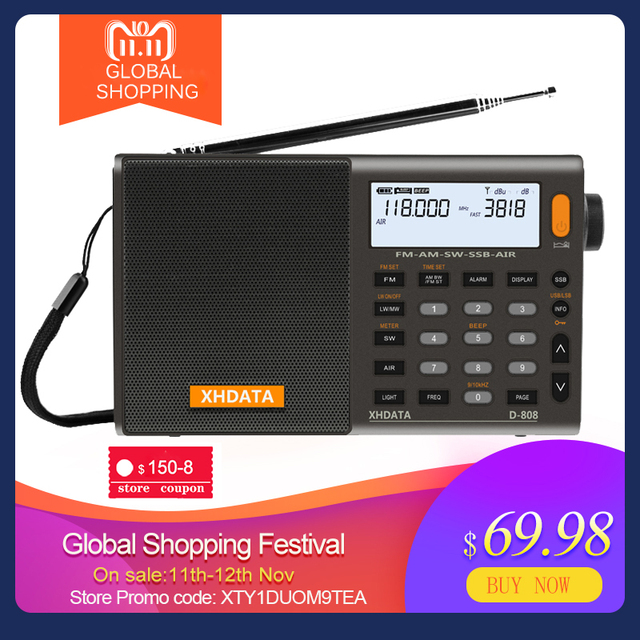 XHDATA D 808 Portable Digital Radio FM Stereo/SW/MW/LW SSB AIR RDS Multi Band Radio Speaker with LCD Display Alarm Clock  Radio