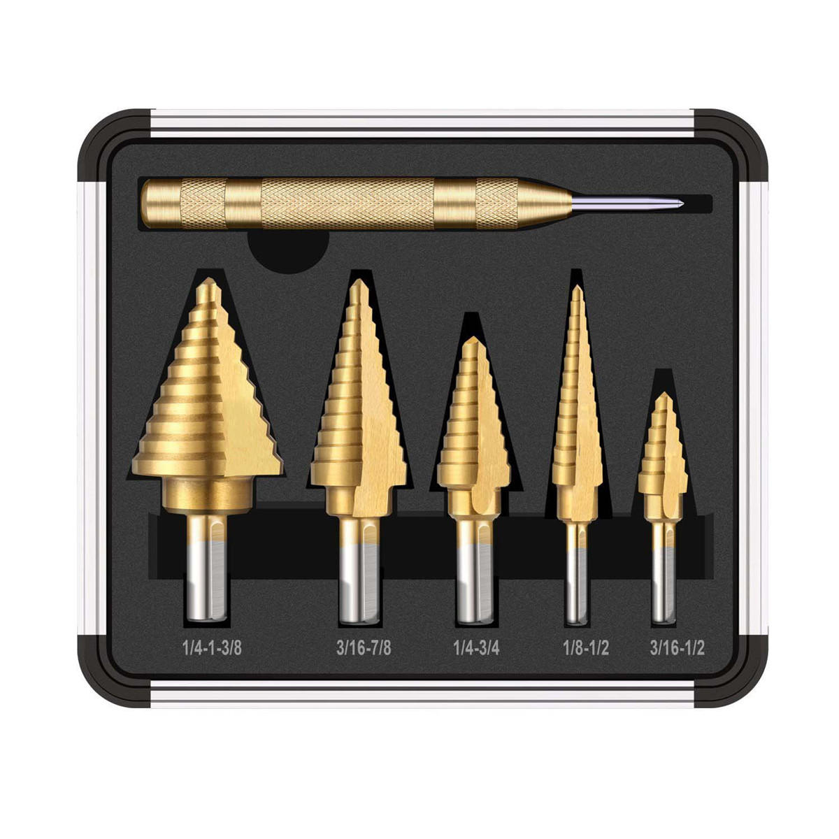 6pcs HSS Titanium Coated Step Drill Bit With Center Punch Drill Set Hole Cutter Drilling Tool COD