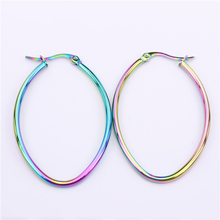 New colors changing Hoop earrings Oval Various sizes 33mm 43mm 53mm 63mm Pretty lady jewelry Party gift LH937