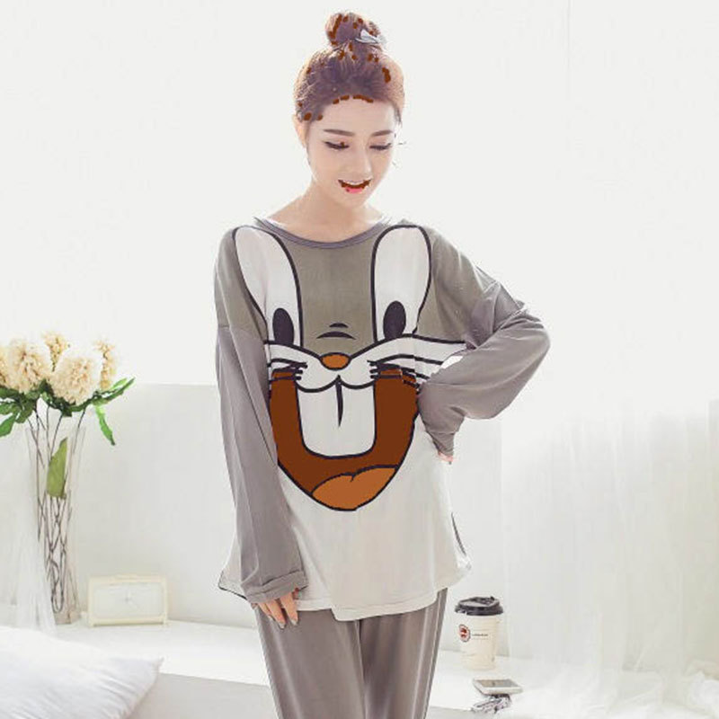 Shakespeare Fort Beauty New Products Crew Neck Long Sleeve Pajamas Women's Spring And Autumn-Outer Wear Cute Cartoon Rabbit GIRL
