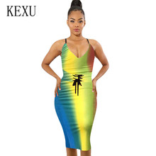 KEXU Sexy Spaghetti Strap Backless Summer Dress Women Sleeveless Hollow Out V-neck Elegant Bodycon Party Dresses Vestidos