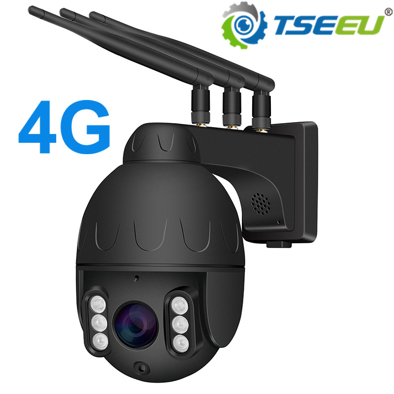 4G IP Camera Sim Card Outdoor Whole Metal Casing  Pan Tilt 5x Zoom Max 128G Card Sony Sensor Camhi App Waterproof 1080P 5MP