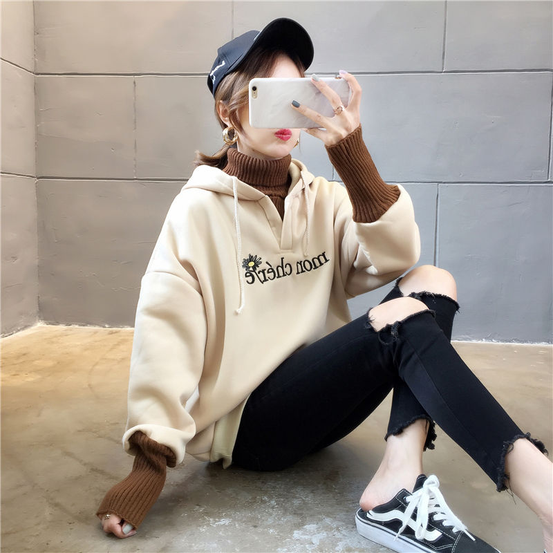 Autumn and Winter New Korean Version of Women's Hooded High Collar Fake Two Fashionable Tops with Plush Thickening for Students 8