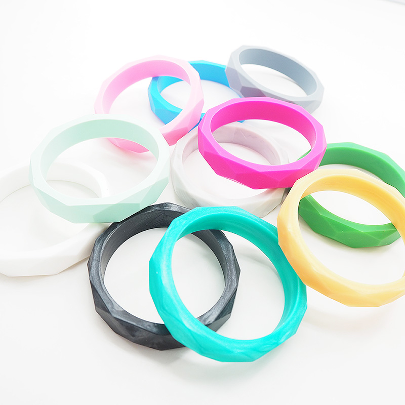 Chenkai 10PCS BPA Free DIY Silicone Teething Bracelet Baby Bangle Teether Nursing Sensory Pacifier Chewing Pendant For Toy Gift
