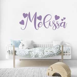 Calligraphy Style Name Vinyl Wall Sticker Personalised Decal With Hearts Baby Girls Gift Nursery Room Sweet Decoration