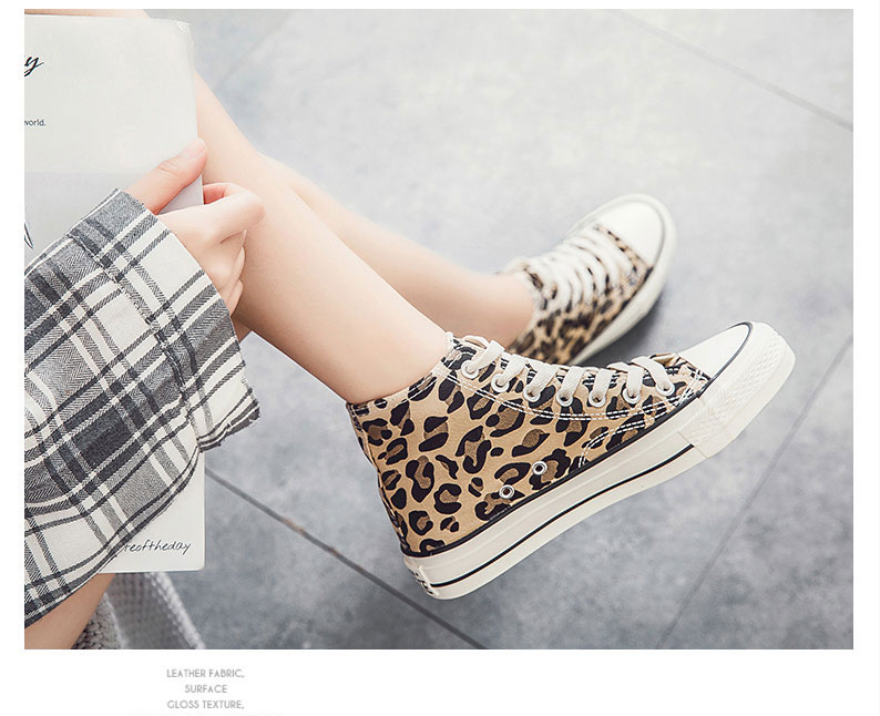 2020 New Leopard Canvas Shoes Women Flat Platform Sneakers Women Casual Shoes Woman High Top Tenis Mujer Casual
